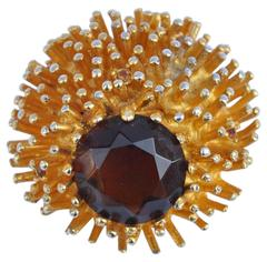 Huge Impressive Gold Brooch with Large Center Stone