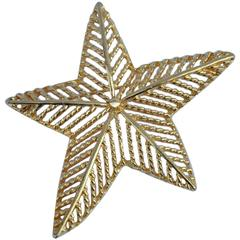 """Large Gilded Gold Vermeil """"Shining Star"""" Brooch"""