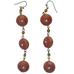 Detailed Coral & Red Enamel with Gold Hardware Hanging Earrings