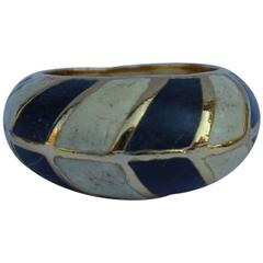 Lanvin Navy and Cream Enamel Finish Gold Tone Ring