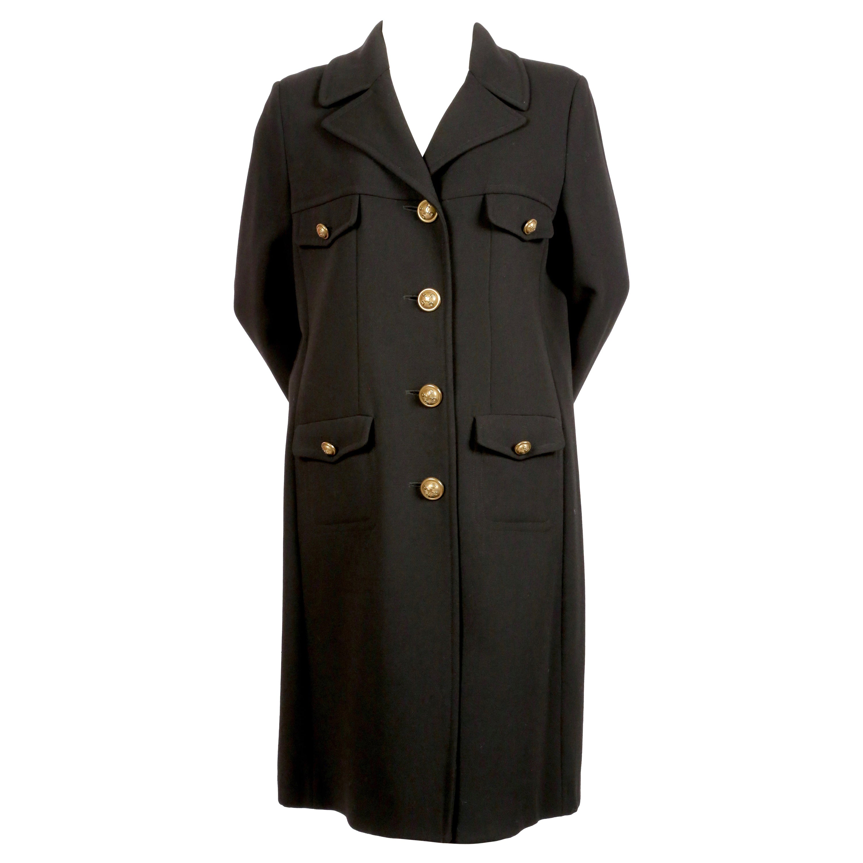 1990's MOSCHINO Cheap and Chic black wool military coat
