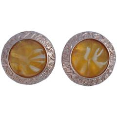 Yves Saint Laurent Signature Pour Glass with Gold Rarrings