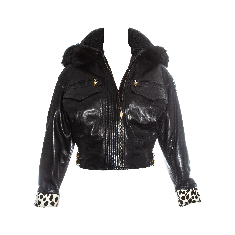 Gianni Versace black leather bomber jacket with bondage buckles, fw 1992