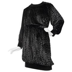 80s Yves Saint Laurent Rive gauche Black Silk Velvet Ensemble