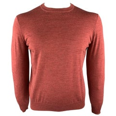 BRUNELLO CUCINELLI Size M Brick Knitted Wool/Cashmere Crew-Neck Pullover Sweater