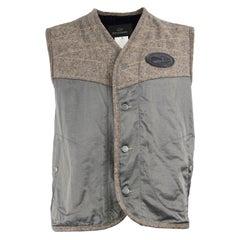 John Richmond Destroy Vintage Men's Brown Wool Tweed & Grey Satin Gilet Jacket