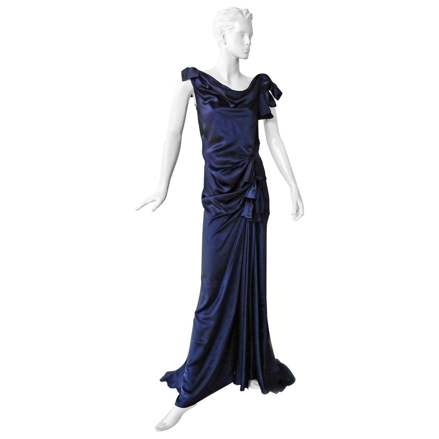 Nina Ricci Stunning Deco Inspired Bows Bias Cut Silk Dress Gown   Red Carpet!