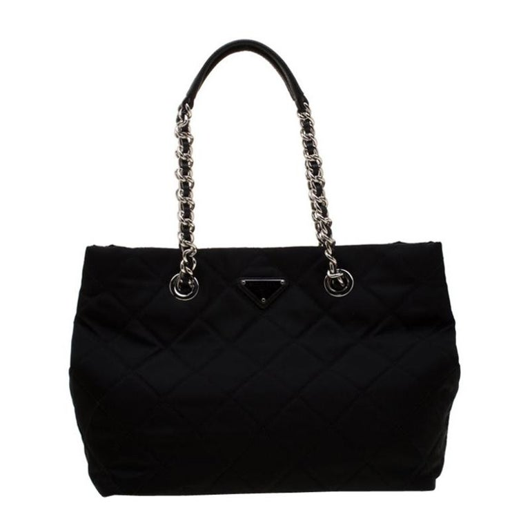 Prada Black Quilted Nylon Shoulder Bag For Sale