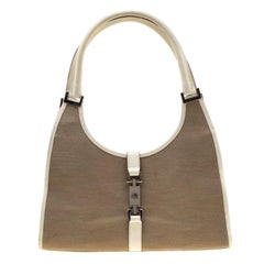 Gucci Off White/Beige Canvas and Leather Bardot Shoulder Bag