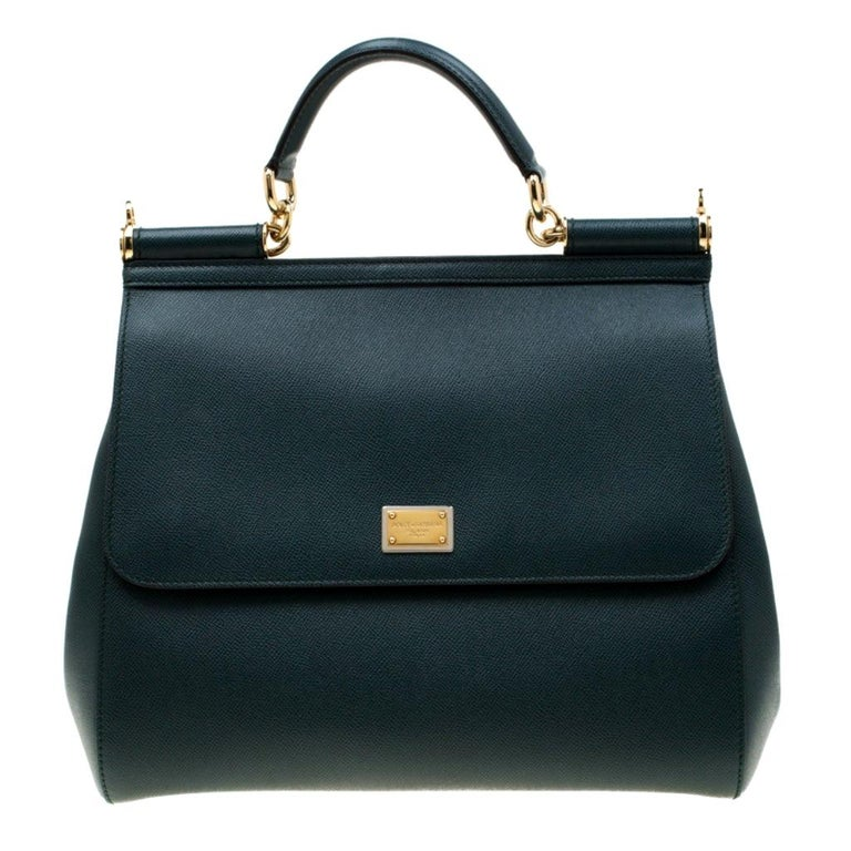 Dolce And Gabbana Green Dauphine Leather Large Miss Sicily Bag For Sale