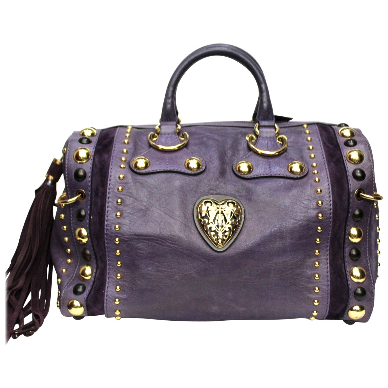 Gucci Purple Leather Babouska Boston Bag