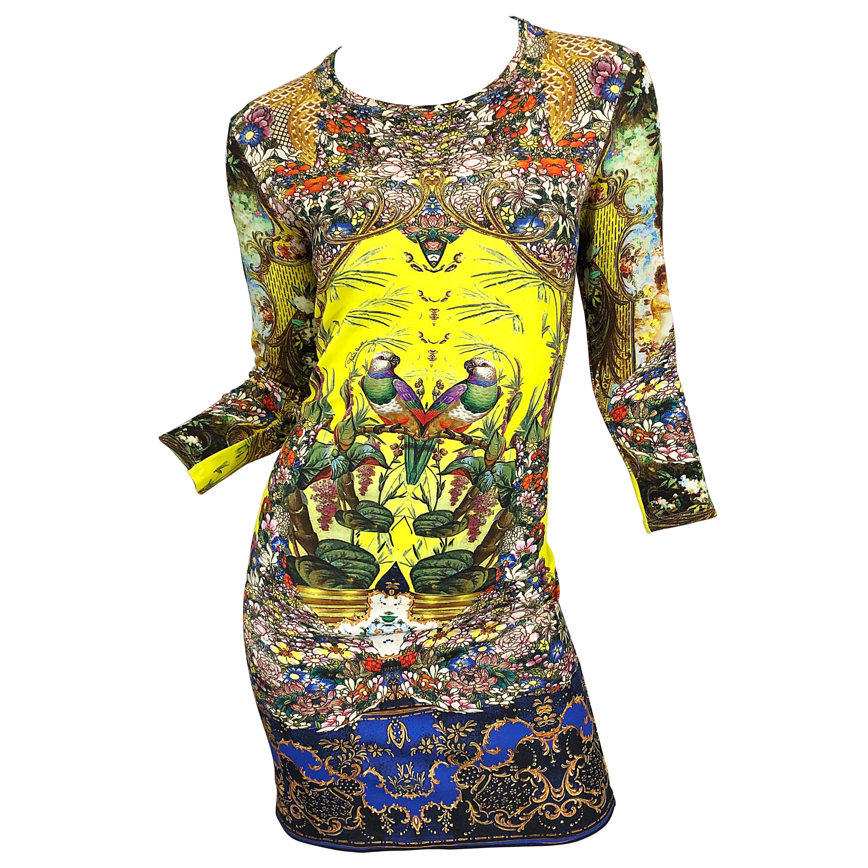 Roberto Cavalli Size 42 / US 6 - 8 Yellow Novelty Bird Print 3/4 Sleeve Dress