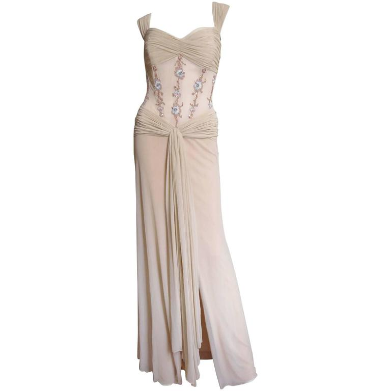 1990s Vicky Tiel Nude Silk Corset Gown & Wrap