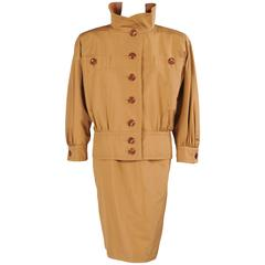 Yves Saint Laurent Haute Couture Silk Safari Skirt Suit