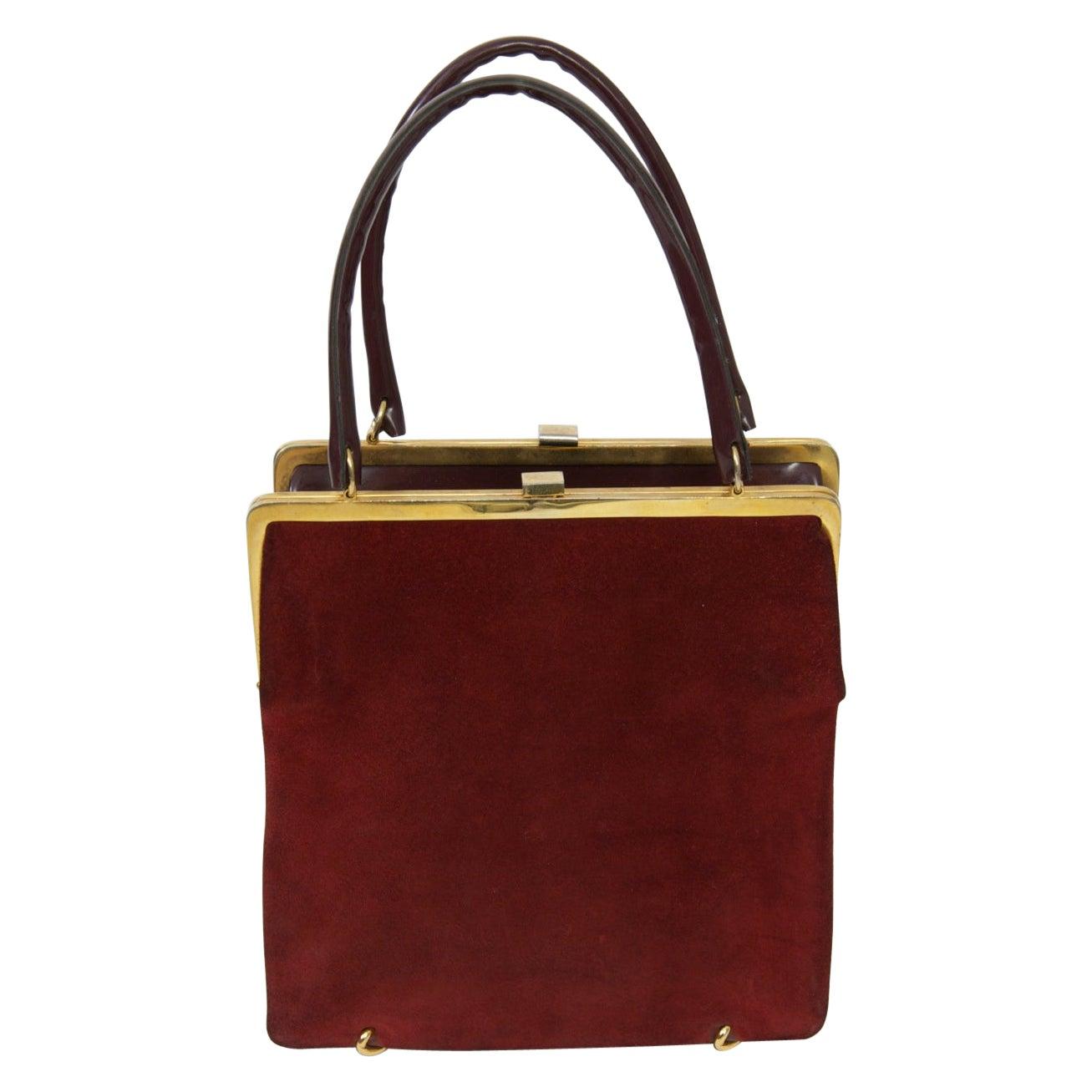 Wine Reversible Suede/Patent Double Handbag