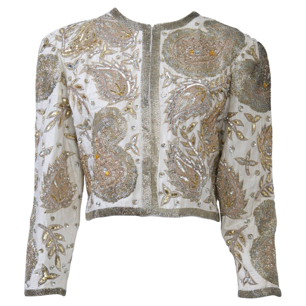 White Silk Beaded Jacket
