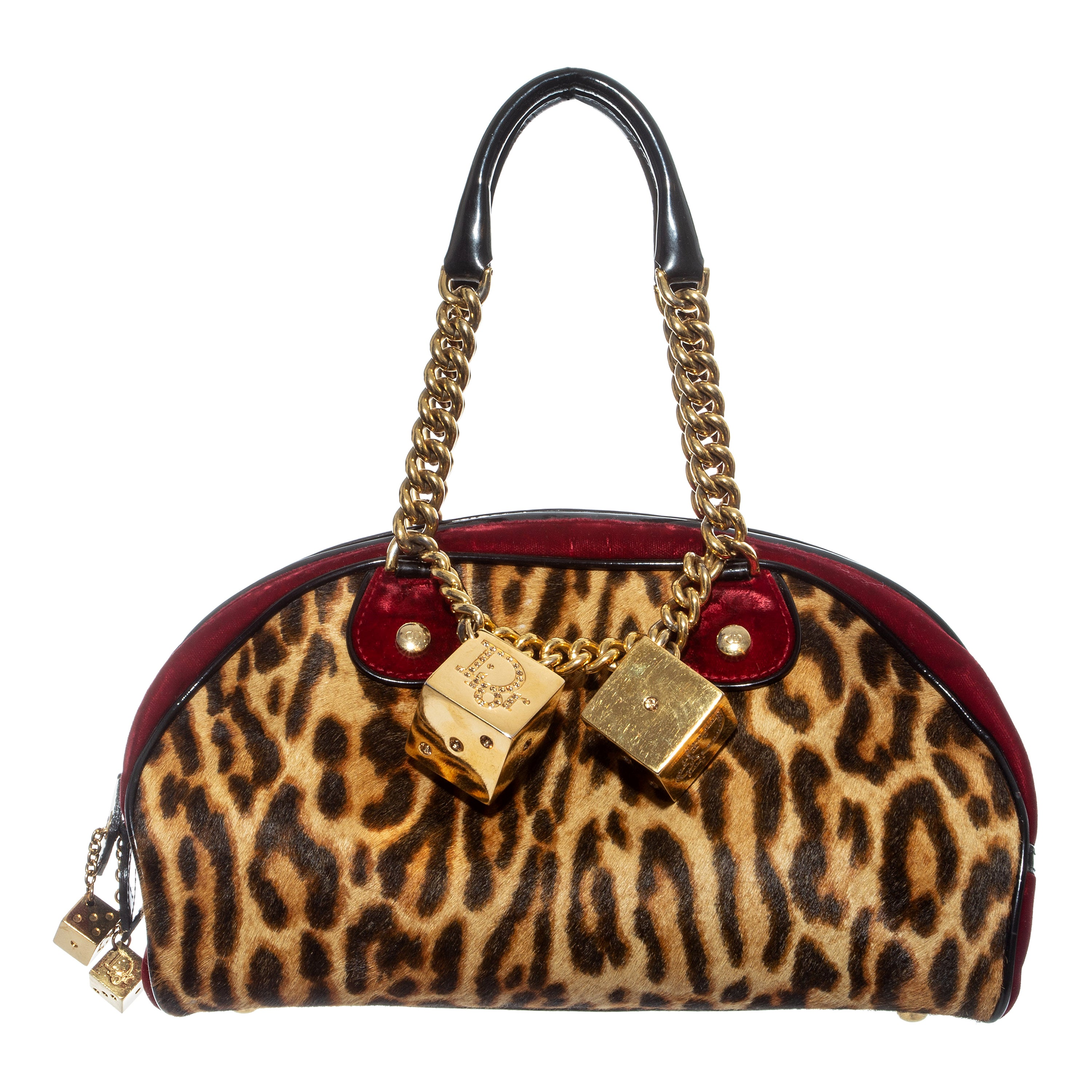 Christian Dior by John Galliano leopard pony hair and red velvet bag, fw 2004