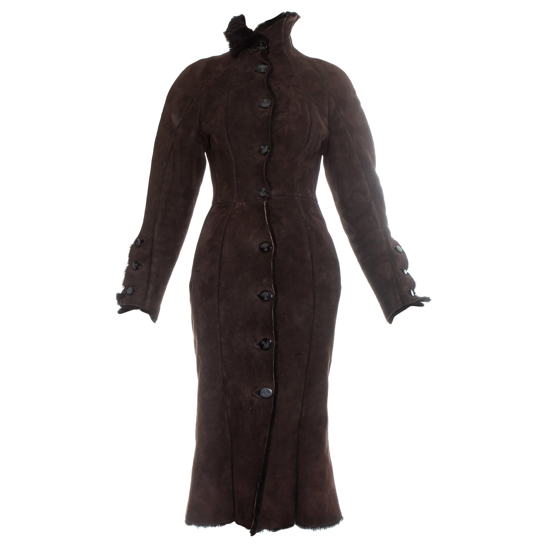 Vivienne Westwood brown shearling coat dress, fw 1992