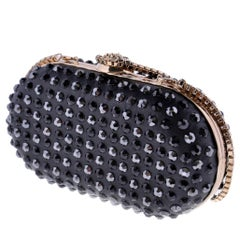 VERSACE Black Crystal Embellished Clutch