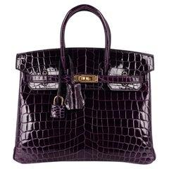 Hermes Birkin 25 Bag Aubergine Crocodile Gold Hardware