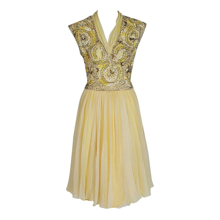 1960's Pat Sandler Pale Yellow Beaded Embroidered Silk-Chiffon Party Dress For Sale