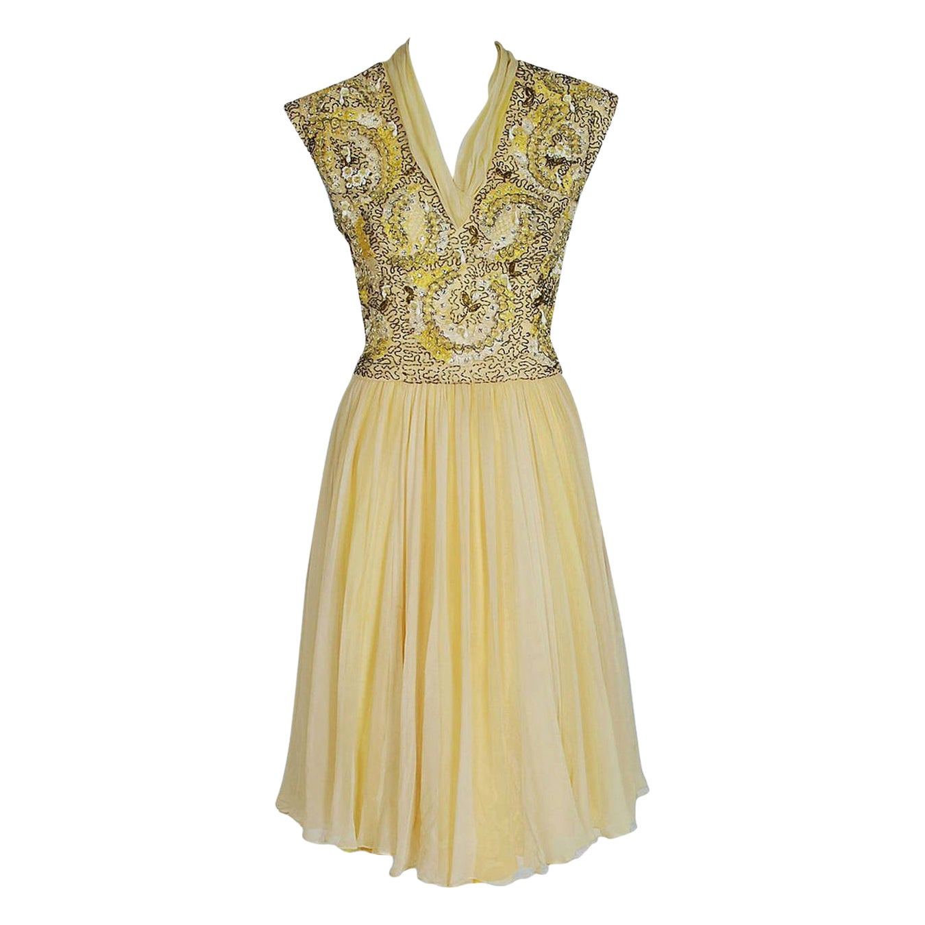 Vintage 1960's Pat Sandler Pale Yellow Beaded Embroidered Silk Chiffon Dress