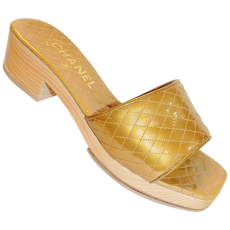 Chanel Gold Leather Quilted Wood Sandals Sz 39 At 1stdibs
