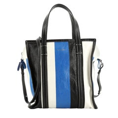 Balenciaga Bazar Convertible Tote Striped Leather Small