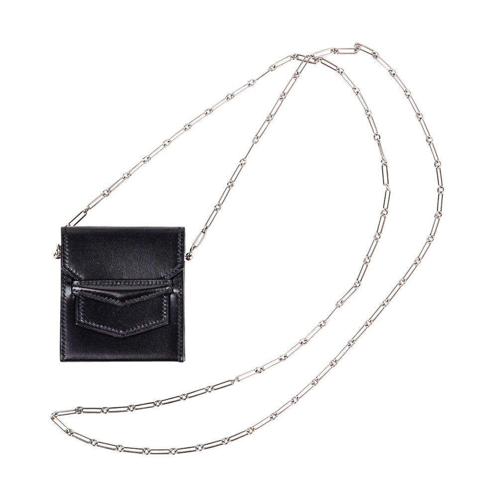 Hermes Micro Sac 70mm Noir Villandry Palladium Paper Clip Chain Limited Edition
