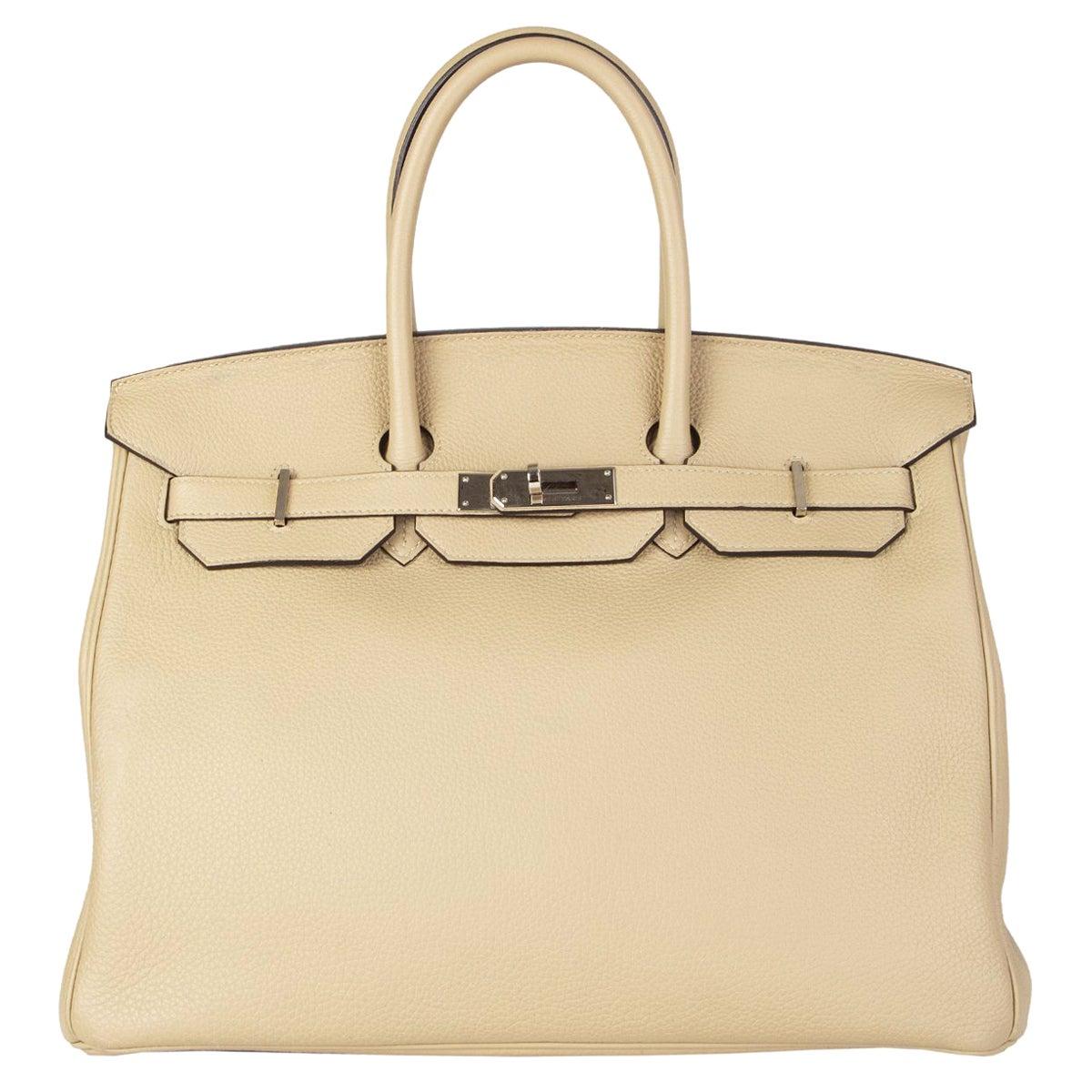 HERMES Trench beige & Palladium leather BIRKIN 35 Tote Bag
