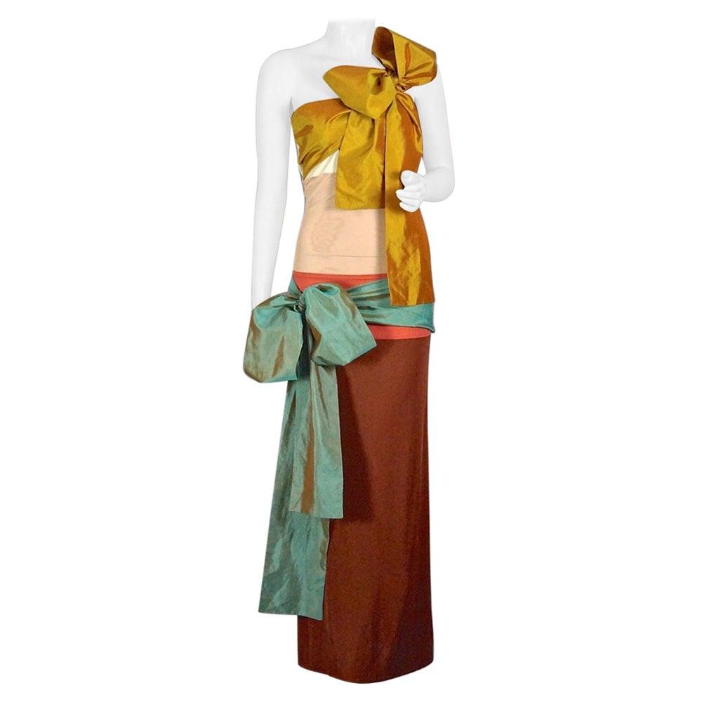 Vintage JEAN PAUL GAULTIER Silk Bow Colour Block Gown Dress