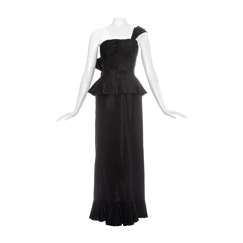 Chanel by Karl Lagerfeld black silk taffeta pleated evening dress, ss 1986