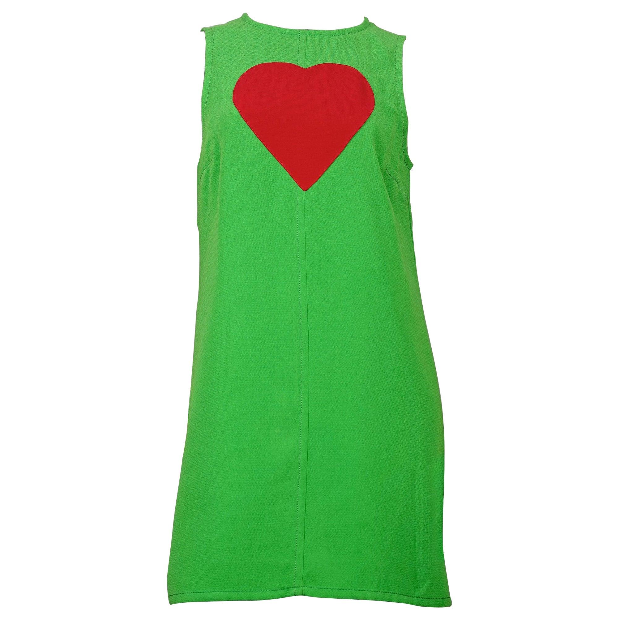 Vintage 1970s YVES SAINT LAURENT Heart Pop Art Dress