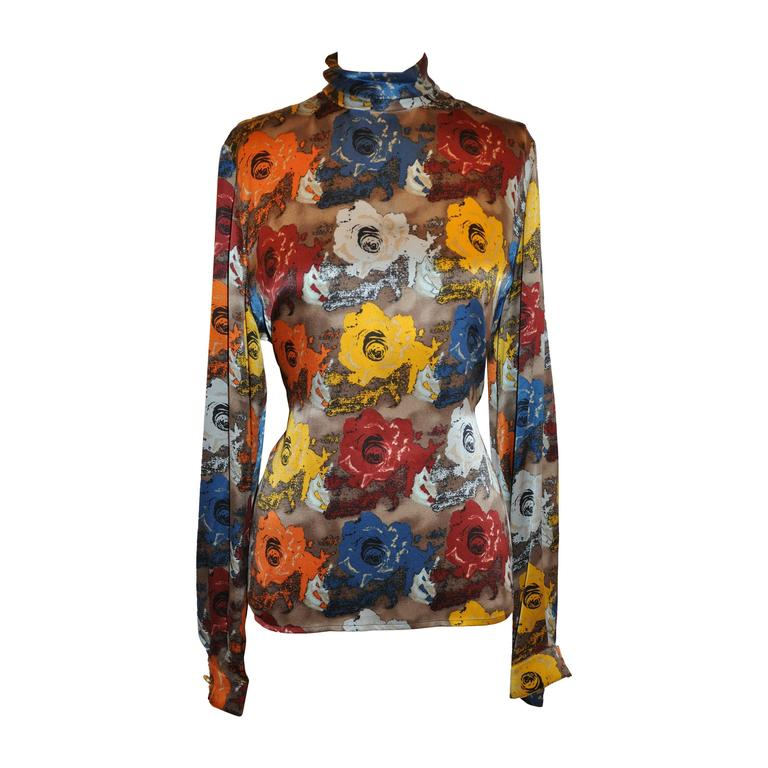 Emanuel Ungaro Multi-Color High-Neck Floral Print Silk Zipper Top