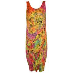 "Issey Miyake Multi-Color ""Graffiti Characters"" Sleeveless Maxi Dress"