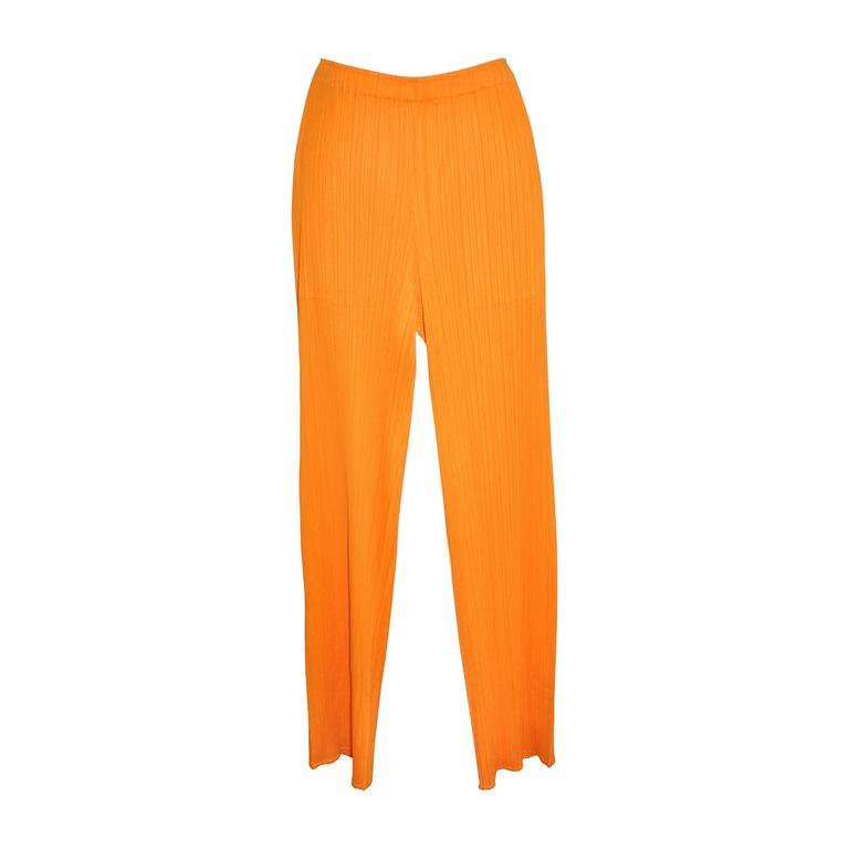 Issey Miyake Signature Pleated Bold Tangerine Trousers