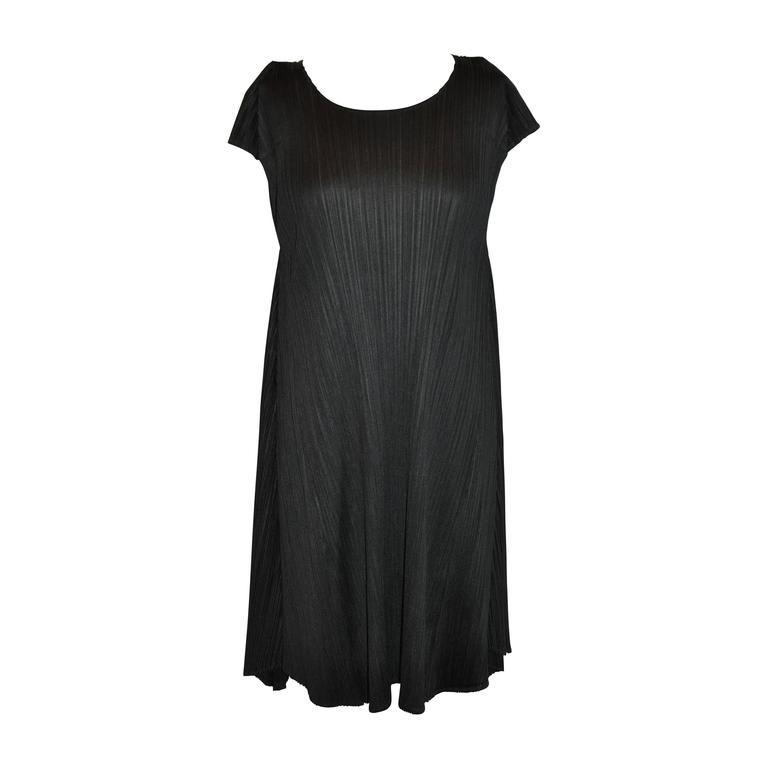 Issey Miyake Signature Black Pleated Flared Dress
