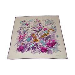 Gianni Versace Multi-Color Floral Silk Scarf