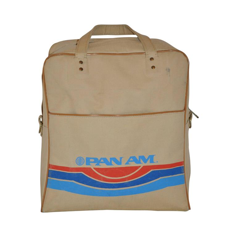 Rare Pan Am Commercial Beige Travel Tote with Signature Logo & I.D. For Sale