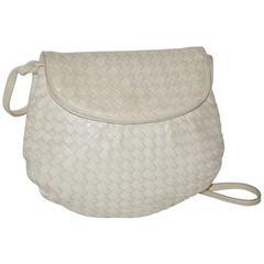 Bottega Veneta Cream Signature Lambskin Woven Shoulder Bag