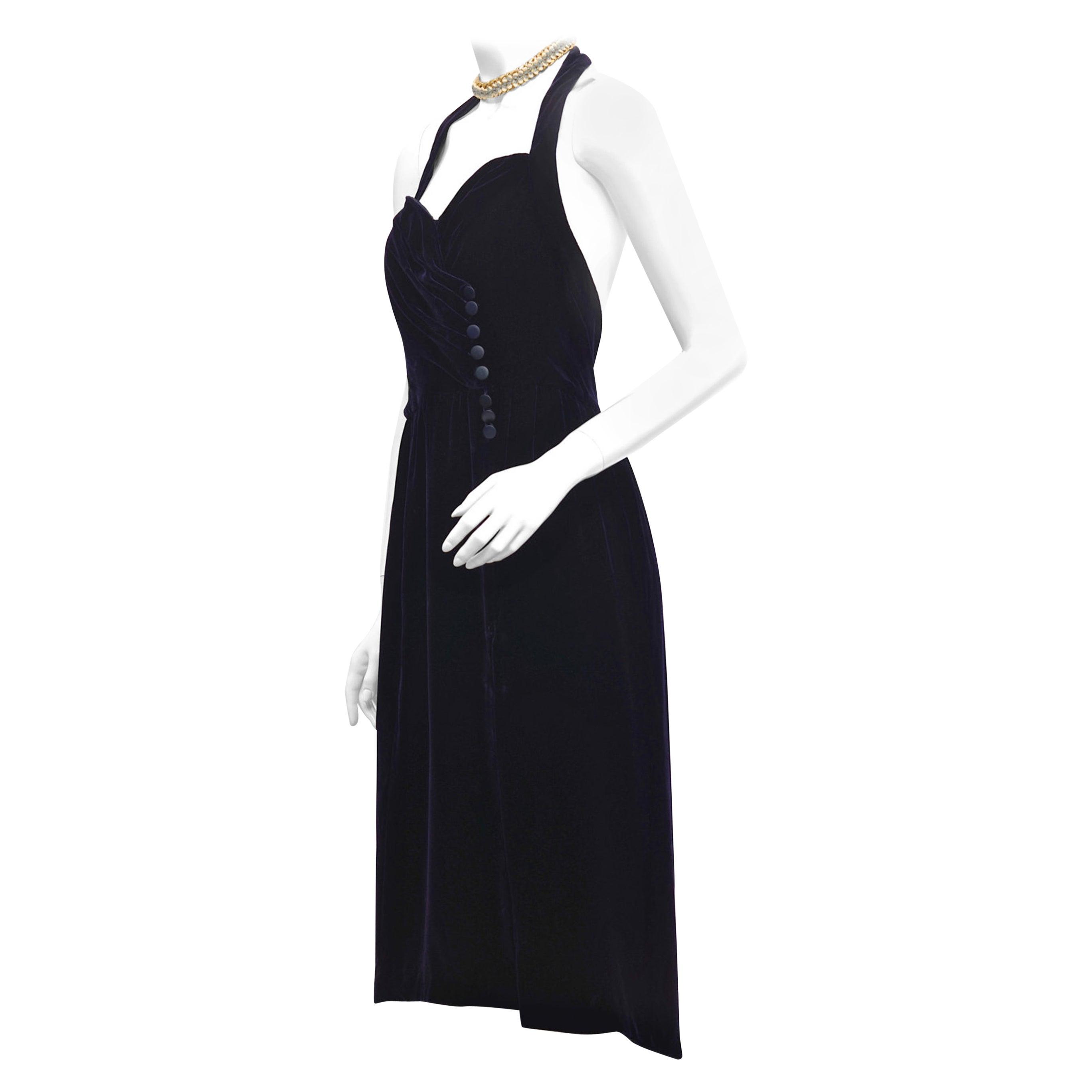 Vintage CHANEL BOUTIQUE Velvet Halter Formal Dress