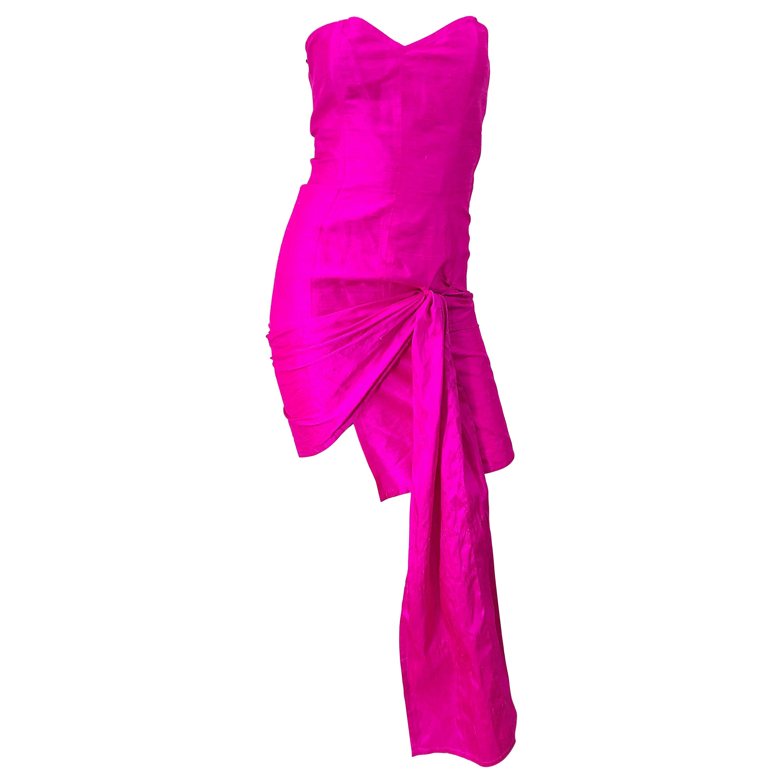 1980s Angelo Tarlazzi Shocking Hot Pink Avant Garde Silk Shantung Vintage Dress