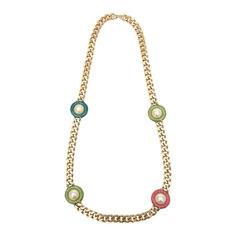 Guy Laroche Gold,Tone Chain Link Strand Necklace with Enamel and Faux Pearl SALE For Sale