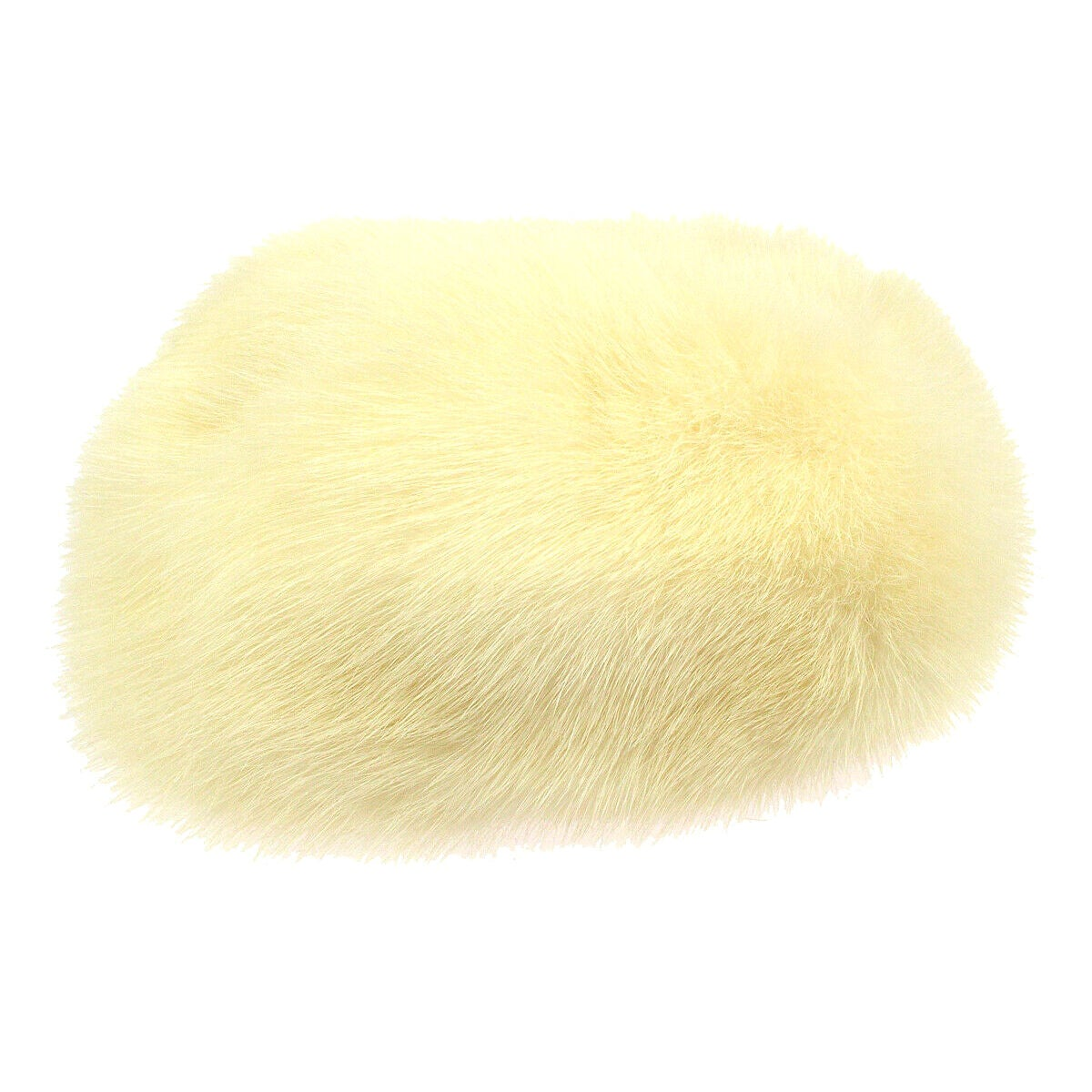 Chanel Round Beret CC Brooch PearI Gold Ivory Cream Fur Winter Hat in Box