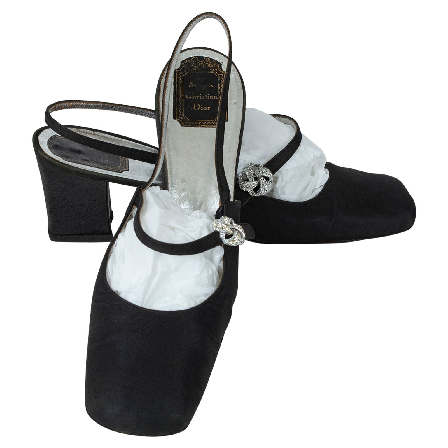 Black Souliers Christian Dior Jeweled Slingback Evening Sandal – US 10, 1960s