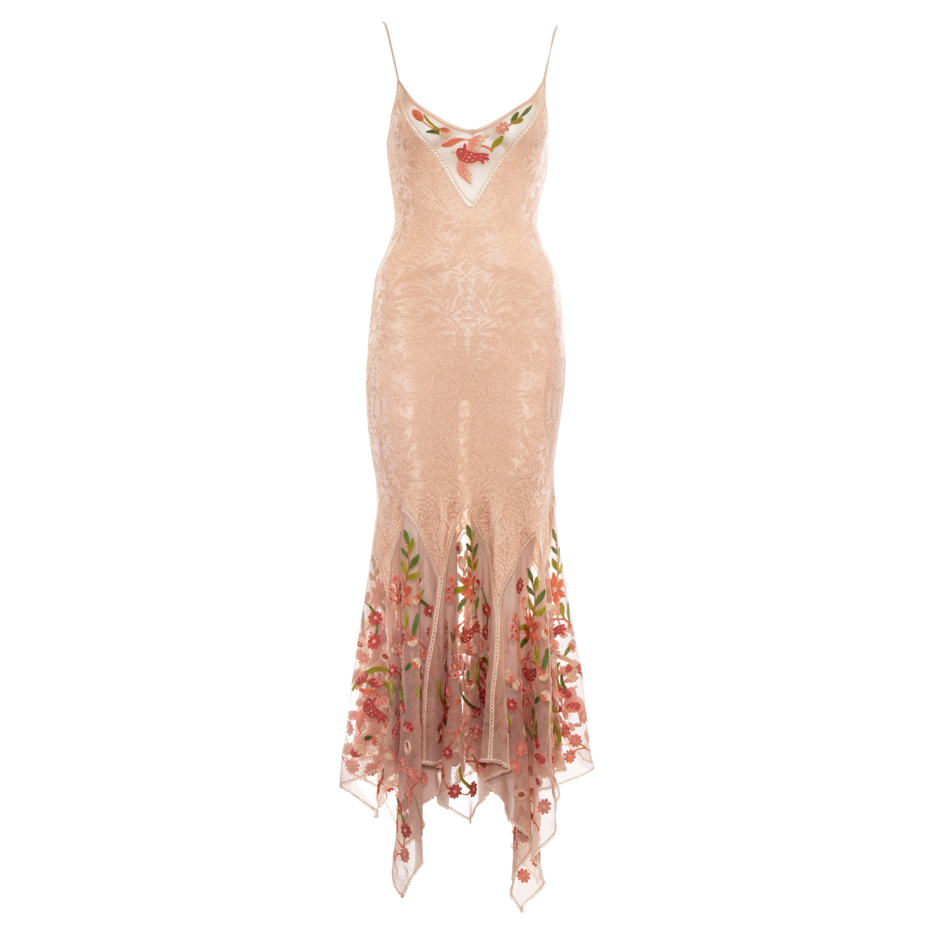 Christian Dior by John Galliano peach knitted embroidered summer dress, ss 2005
