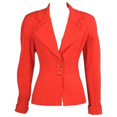 Chloe Fitted Light Weight Red Wool Crepe Jacket
