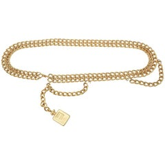 "Chanel Gold Plated Chain Link ""Coco Chanel"" Perfume Dangler Belt"
