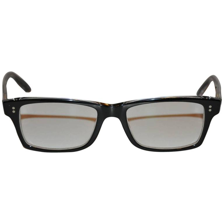 Ray Ban Black Lucite with Silver Hardware Etching Glasses