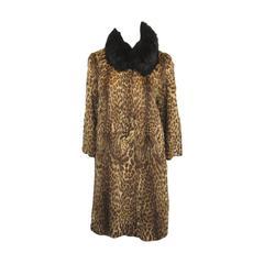 1940s Vintage Cat Print Fur Coat
